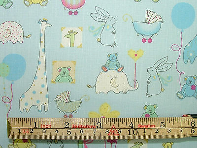 Babytime blue designer cotton nursery curtain soft for Children s furnishing fabrics