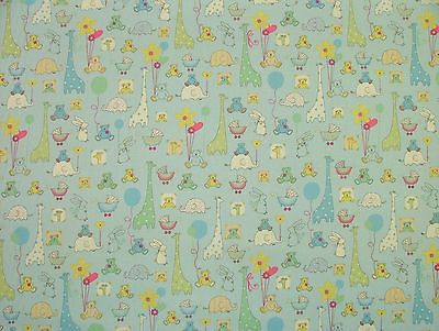 Babytime blue designer cotton nursery curtain soft for Nursery fabric uk