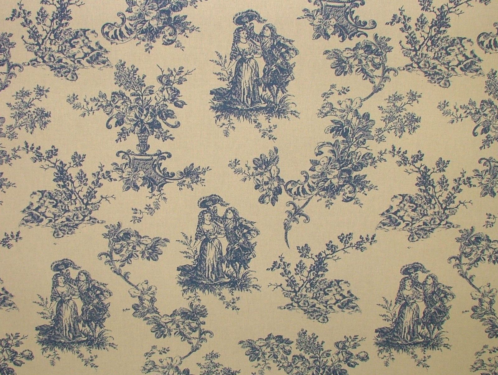 Blue natural cream linen look toile de jouy curtain - Papel pintado toile de jouy ...