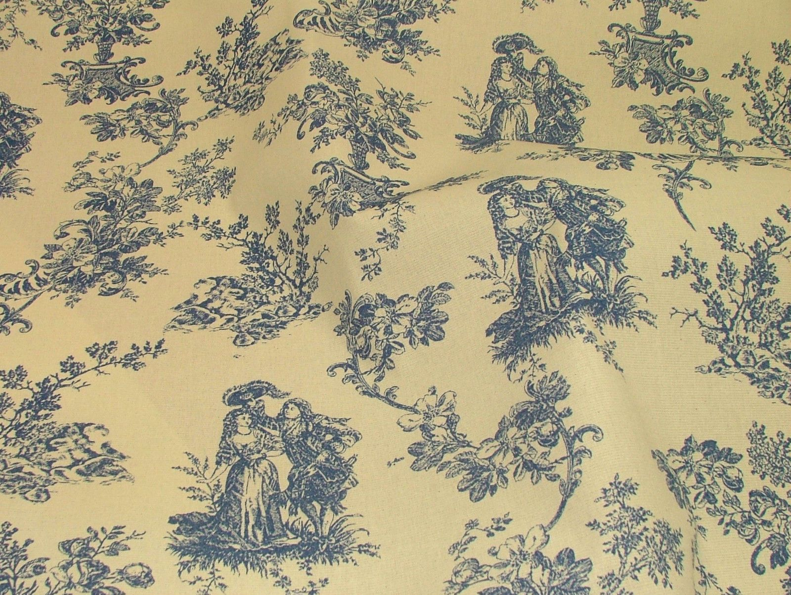 blue natural cream linen look toile de jouy curtain. Black Bedroom Furniture Sets. Home Design Ideas