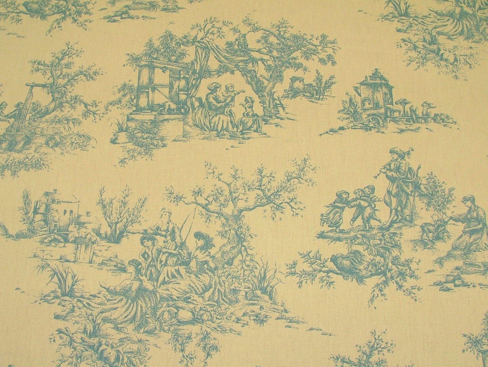 Designer w wood blue cream toile de jouy 100 cotton curtain upholstery - Toile triptyque design ...