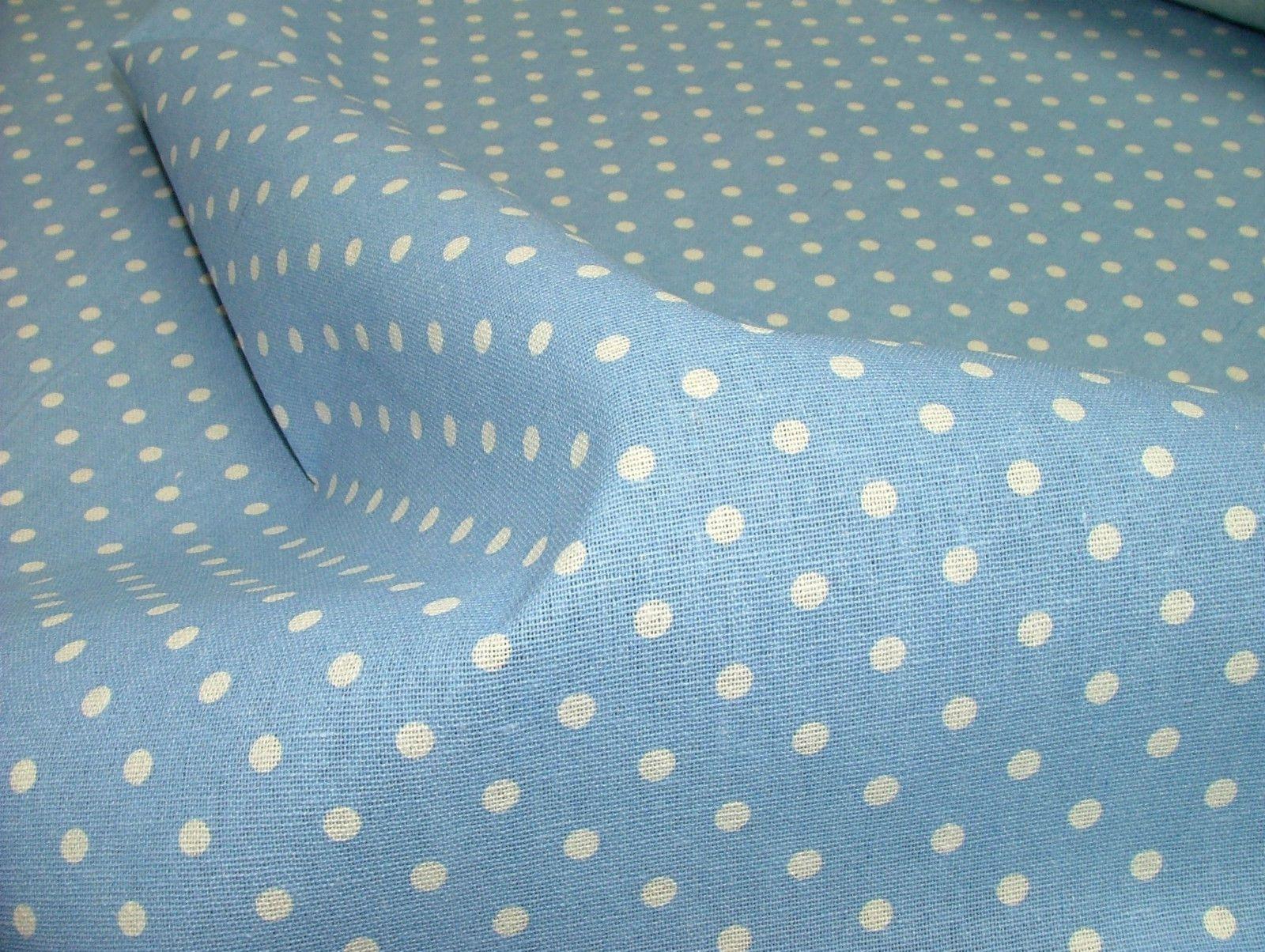 Powder blue polka dot cotton linen curtain soft furnishing for Baby fabric uk