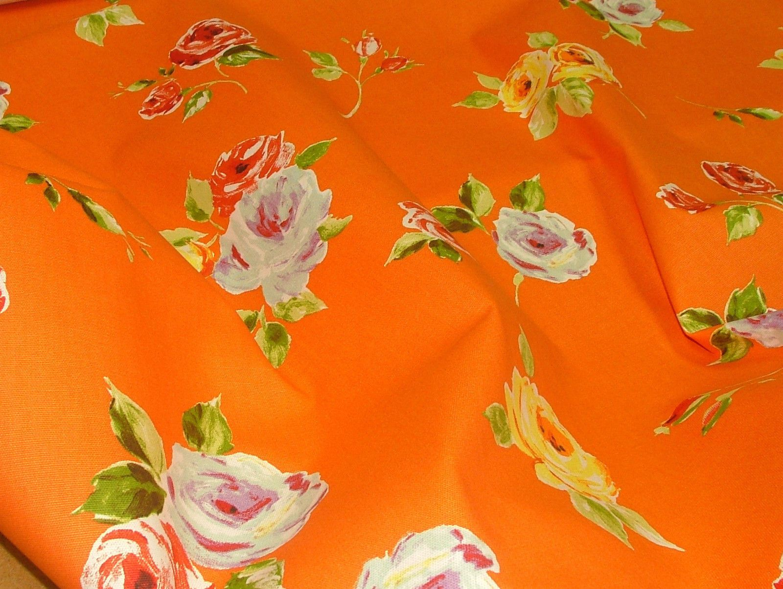 Prestigious Textiles Ella Orange Floral Cotton Curtain Soft Furnishing Fabric