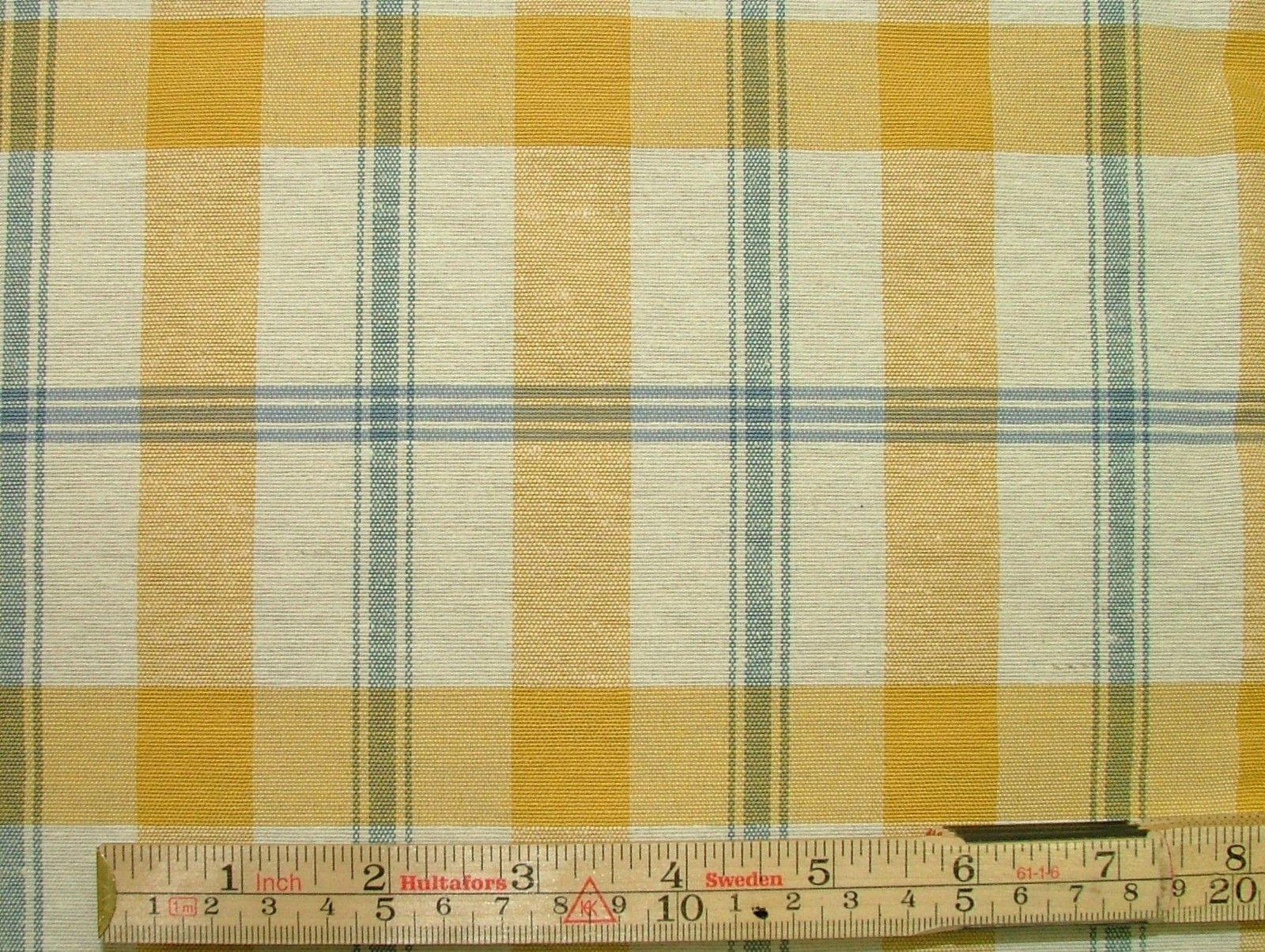 Prestigious Textiles Mustard Cream Blue Check Curtain Soft