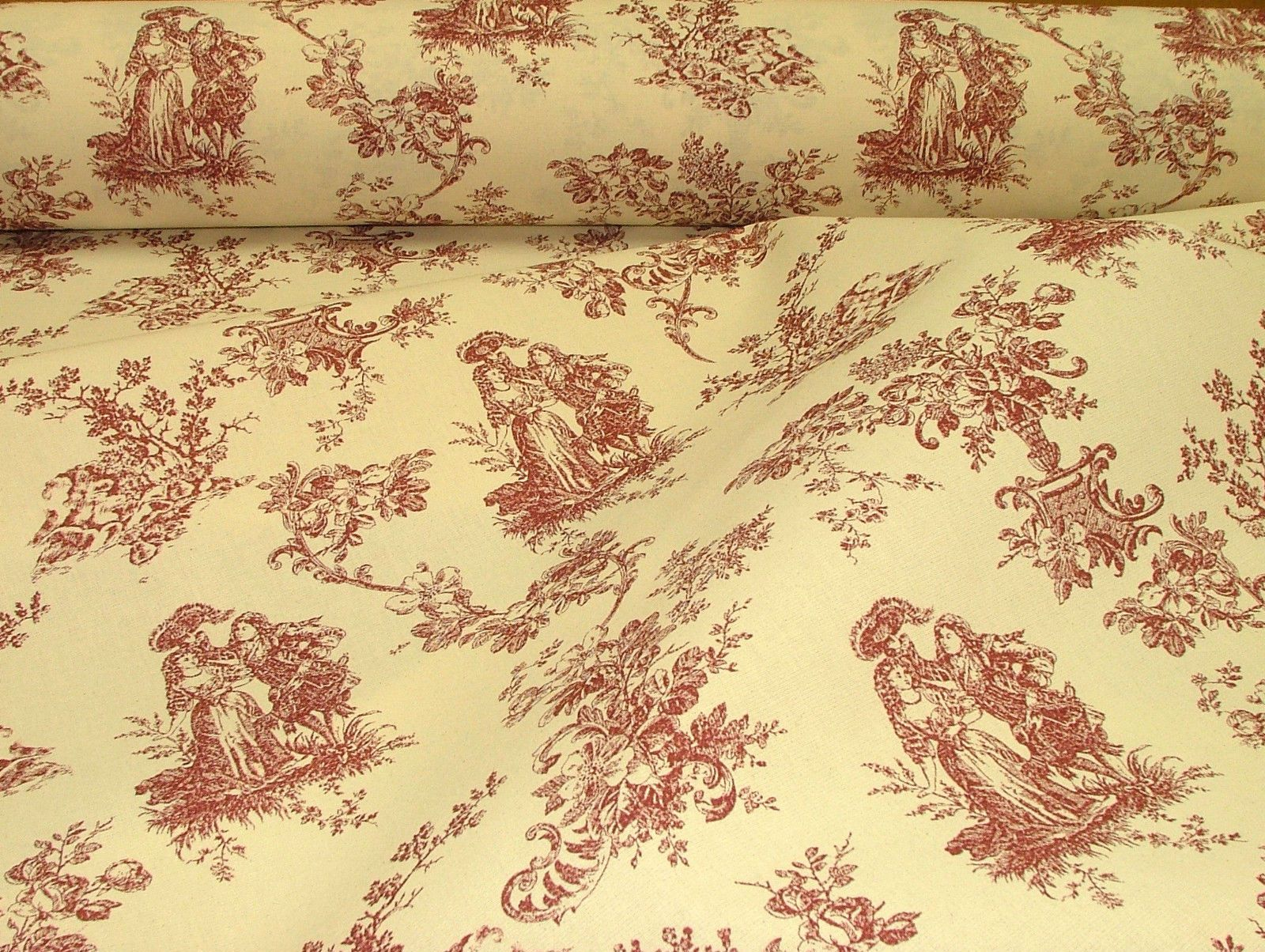 red natural cream linen look toile de jouy curtain upholstery fabric. Black Bedroom Furniture Sets. Home Design Ideas
