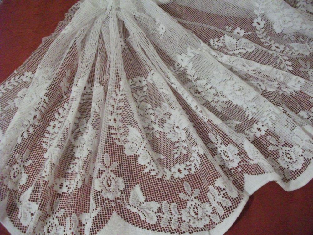 vintage cotton white nottingham butterfly garden lace curtain 60cms