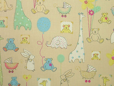 Babytime Beige Designer COTTON Nursery Curtain / Soft Furnishing /Bunting Fabric
