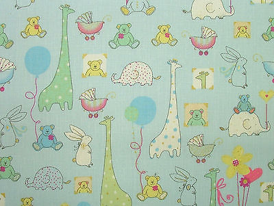 Babytime BLUE Designer COTTON Nursery Curtain / Soft Furnishing /Bunting Fabric