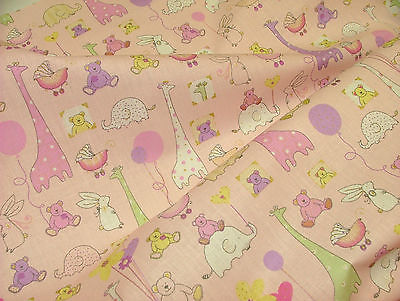 Babytime PINK Designer COTTON Nursery Curtain / Soft Furnishing /Bunting Fabric