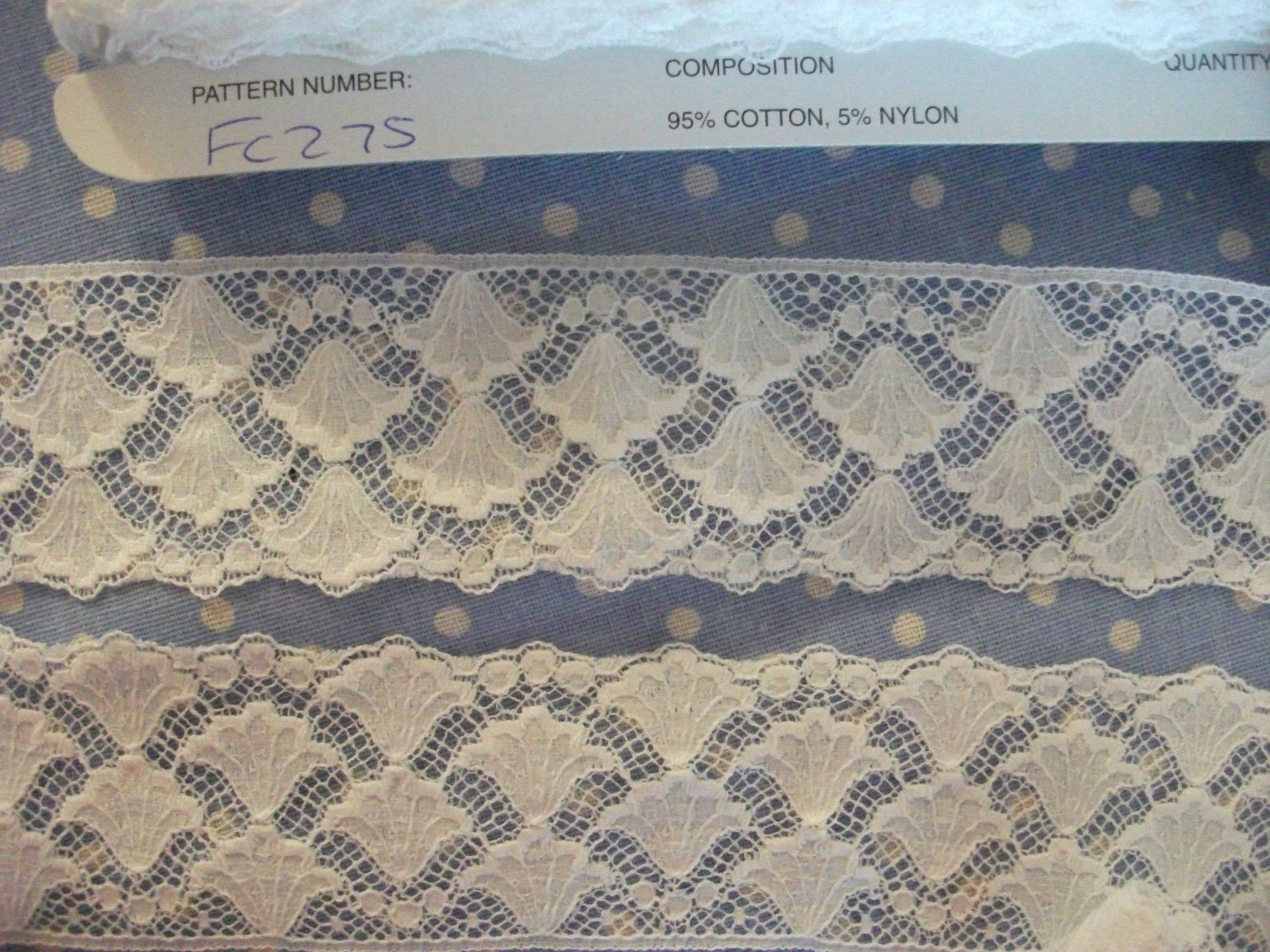 Exclusive FC275 OFF  White Cotton Nottingham Valenciennes Lace by Cluny Lace Co