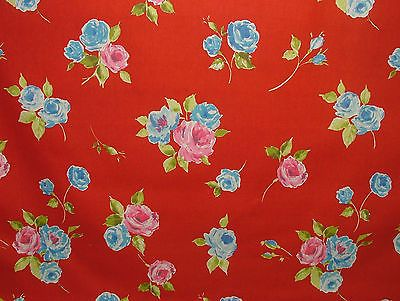 "Prestigious Textiles ""Ella"" Scarlet Floral Cotton Curtain/Soft Furnishing Fabric"