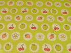 Summer Fruits on Lime Green PVC Oilcloth by Ashley Wilde