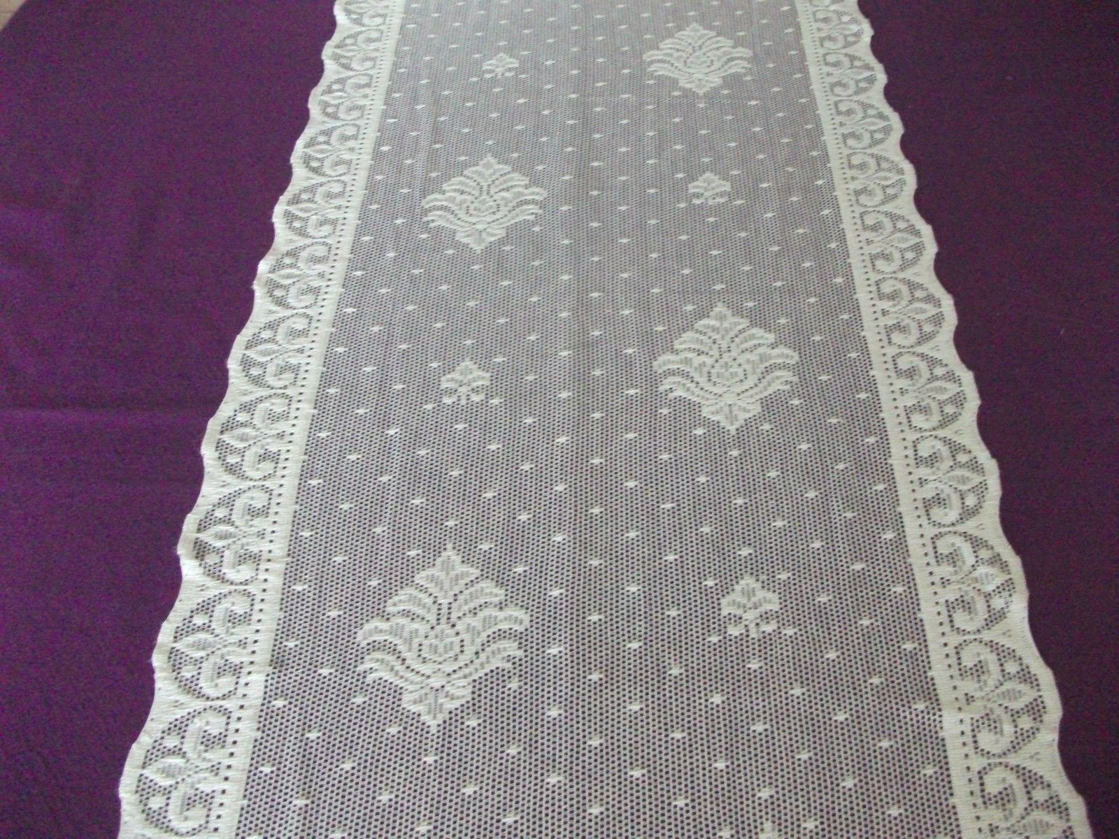 Vintage Cotton Ivory Nottingham Lace Curtain Tablerunner